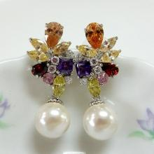 Multicolor CZ & Pearl Bridal Earrings