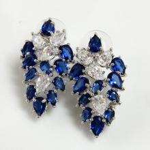 Blue & Clear Teardrop Bridal Earrings