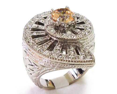 Champagne CZ and Clear Crystal Ring