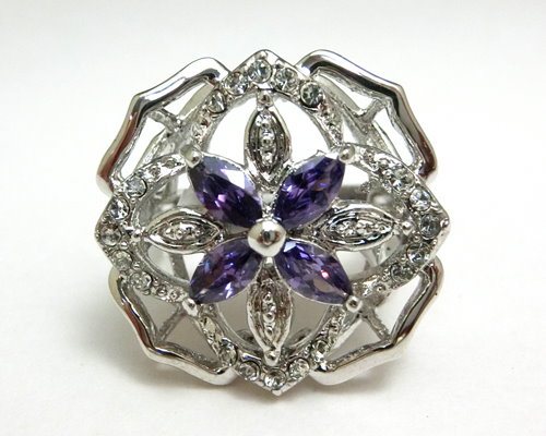 Amethyst and Clear CZ Flower Ring