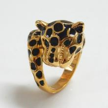 Leopard Goldtone Black Enamel Spots Crystal Ring