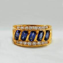Gold tone Blue Ring
