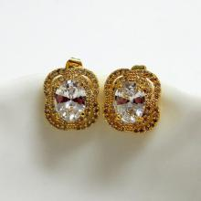 Gold Oval CZ Earrings