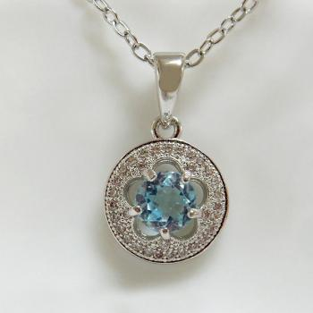 Gemstone Blue Topaz Circle Pendant