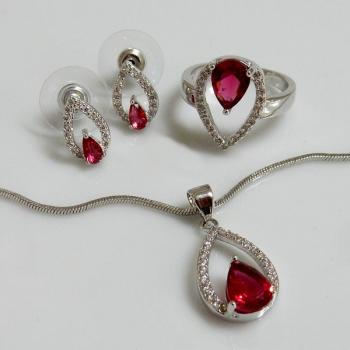 Ruby and Clear CZ Jewellery Set