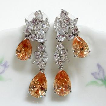 Champagne Pear CZ Wedding Earrings
