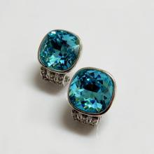 Swarovski Crystal Cushion Aqua Color Earrings