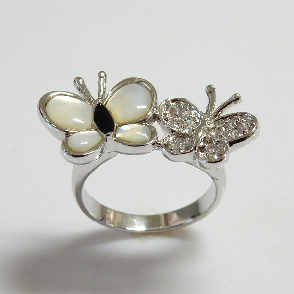 White Shell and CZ Butterfly Ring