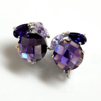 Purple Color CZ Earrings