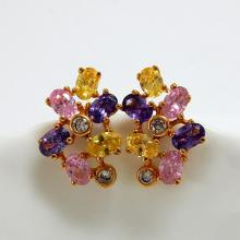Multicolor Oval CZ Stud Earrings
