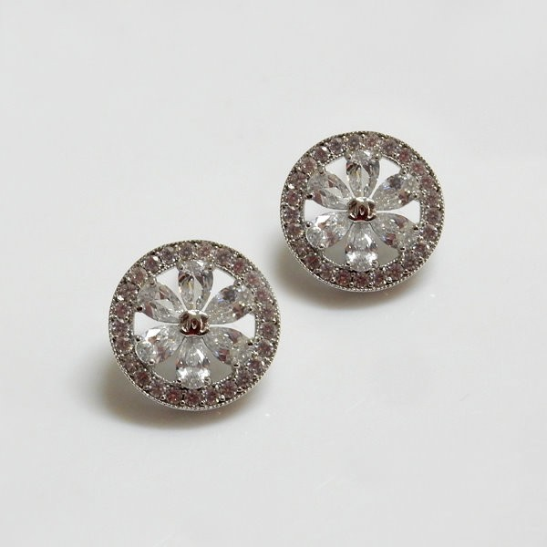 Circle Flower CZ Earrings