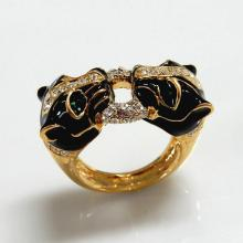 Two Leopard Goldtone Enamel Crystal Ring