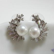 Pearl and CZ Earrings